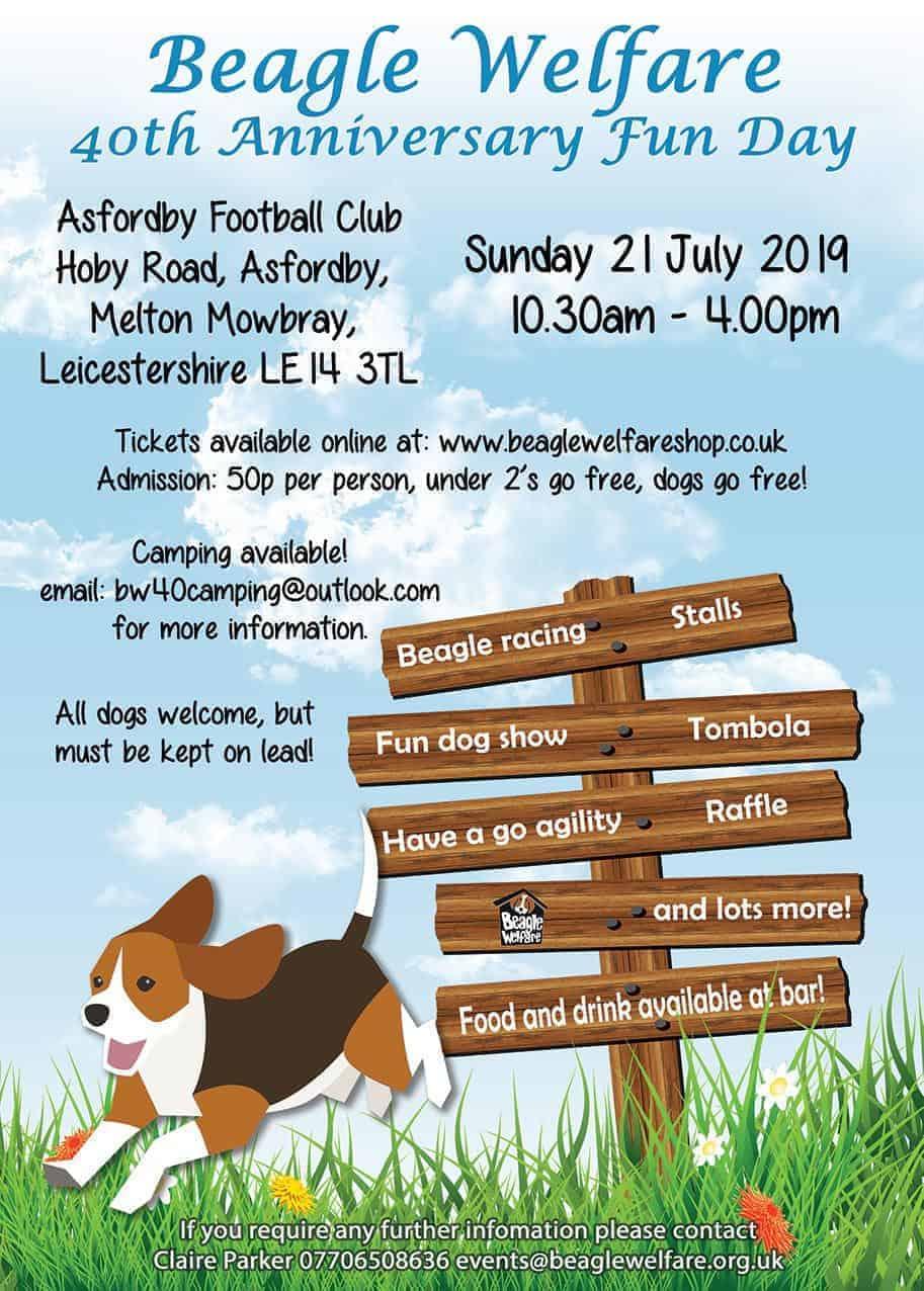 2019 Beagle Welfare Fun Day Poster